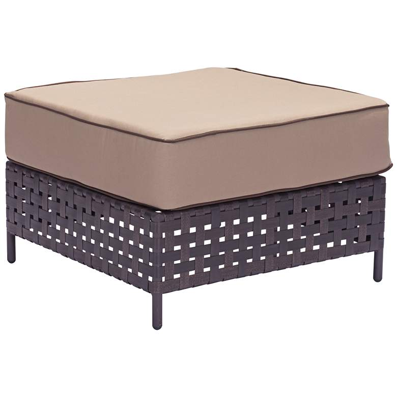 Zuo Pinery Brown and Beige Outdoor Ottoman