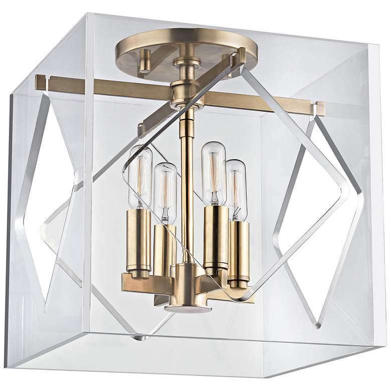 "Hudson Valley Travis 12"" Wide Aged Brass Ceiling Light"