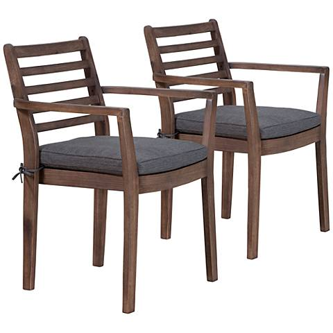 Sancerre Acacia Wood and Gray Outdoor Dining Chair Set of 2