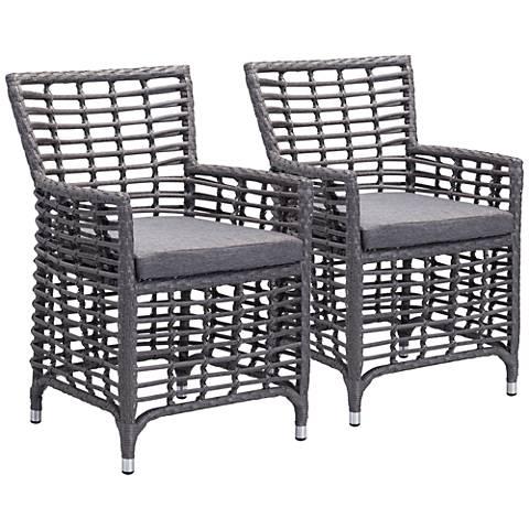 Zuo Sandbanks Gray Outdoor Dining Chair Set of 2