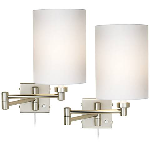 Set of 2 Brushed Steel Cylinder Swing Arm Wall Lamps