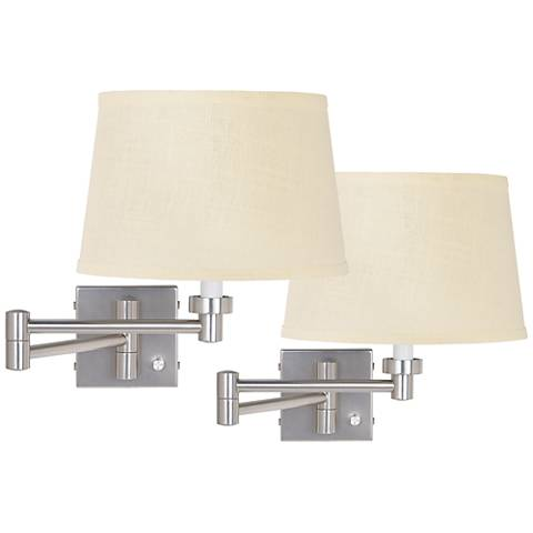 Two Brushed Steel Plug-In Swing Arm Wall Lamps W/ Burlap Shades