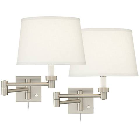 Set of 2 Brushed Steel White Drum Swing Arm Wall Lamps