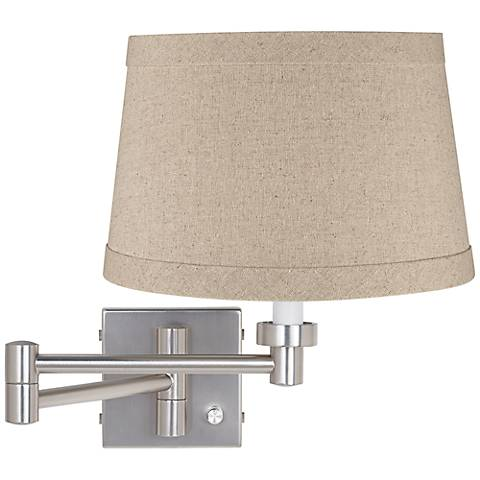 Natural Linen Drum Brushed Steel Plug-In Swing Arm Wall Lamp