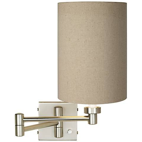 Tan Cylinder - Brushed Steel Plug-In Swing Arm Wall Lamp