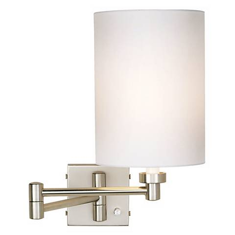 Brushed Steel White Cylinder Shade Plug-In Swing Arm Wall Lamp