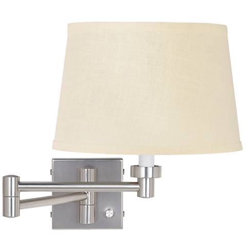 "20 1/2"" Brushed Steel Plug-In Style Swing Arm Wall Lamp Base"