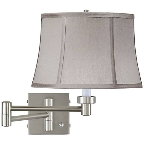 Pewter Gray Drum Brushed Steel Swing Arm Wall Lamp