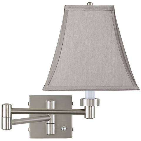 Pewter Gray Square Brushed Steel Swing Arm Wall Lamp