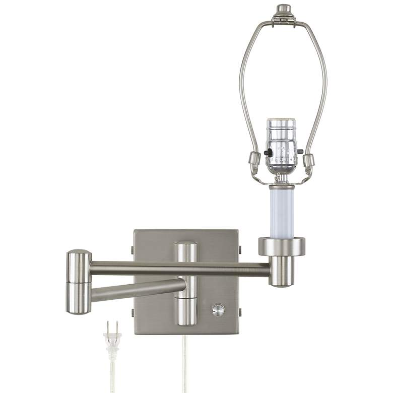 "20 1/2"" Brushed Nickel Plug-In Swing Arm Wall Lamp Base"