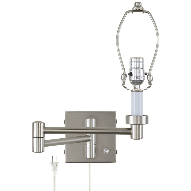 "20 1/2"" Brushed Nickel Plug-In Swing Arm Wall Lamp Base"