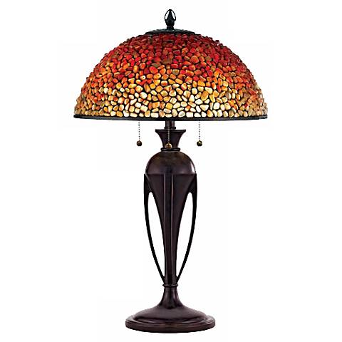 Quoizel Pomez Agate Stone Tiffany-Style Table Lamp