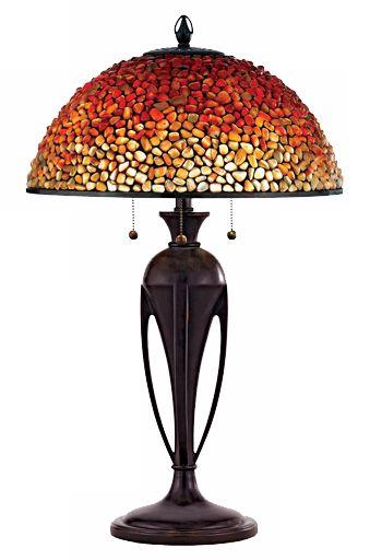 Quoizel Pomez Agate Stone Tiffany Style Table Lamp