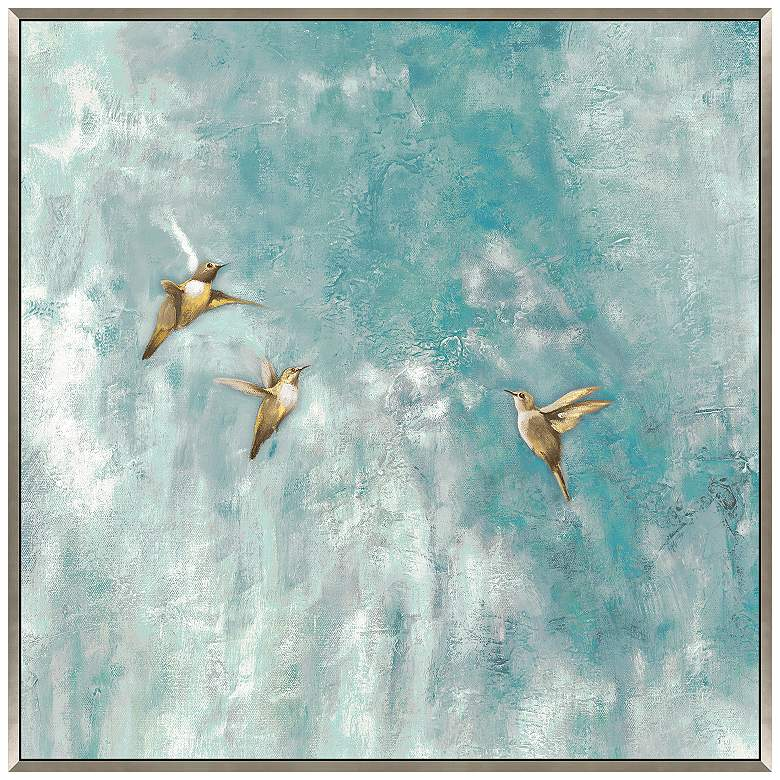 "Mid Air Summit 35"" Square Framed Canvas Wall Art"