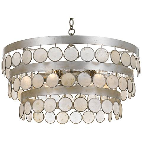 "Crystorama Coco 22"" Wide Antique Silver 6-Light Chandelier"