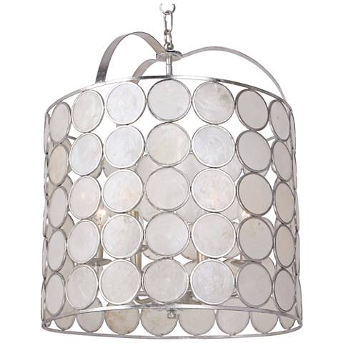 "Crystorama Coco 18""W Antique Silver 6-Light Pendant Light"