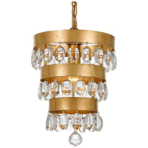 "Crystorama Perla 10""W Antique Gold Crystal Mini-Chandelier"