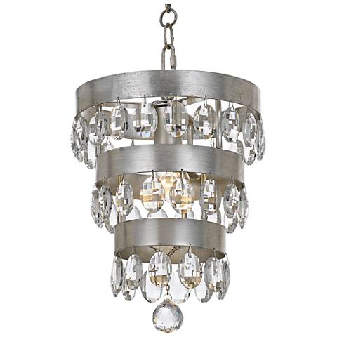"Crystorama Perla 10""W Antique Silver Crystal Mini-Chandelier"