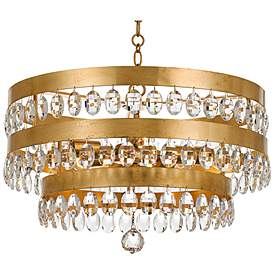 Crystorama Perla 21 3 4 W Antique Gold Crystal Chandelier