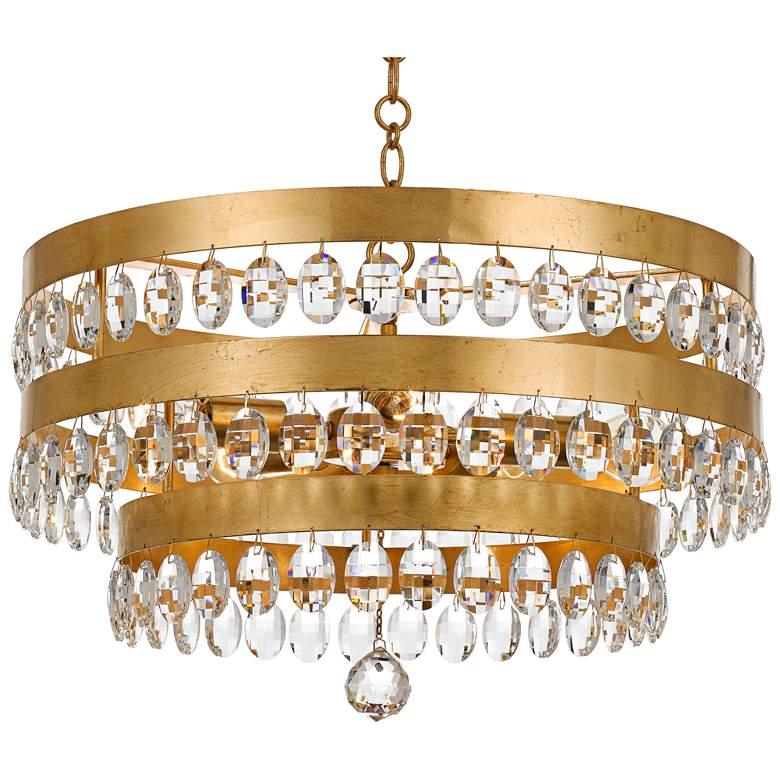 "Crystorama Perla 21 3/4""W Antique Gold Crystal Chandelier"