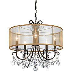 "Crystorama Othello 24""W Bronze 5-Light Crystal Chandelier"