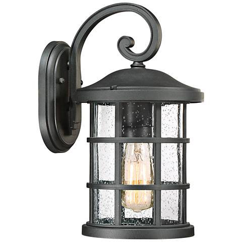 "Quoizel Crusade 14 1/4"" High Earth Black Outdoor Wall Light"