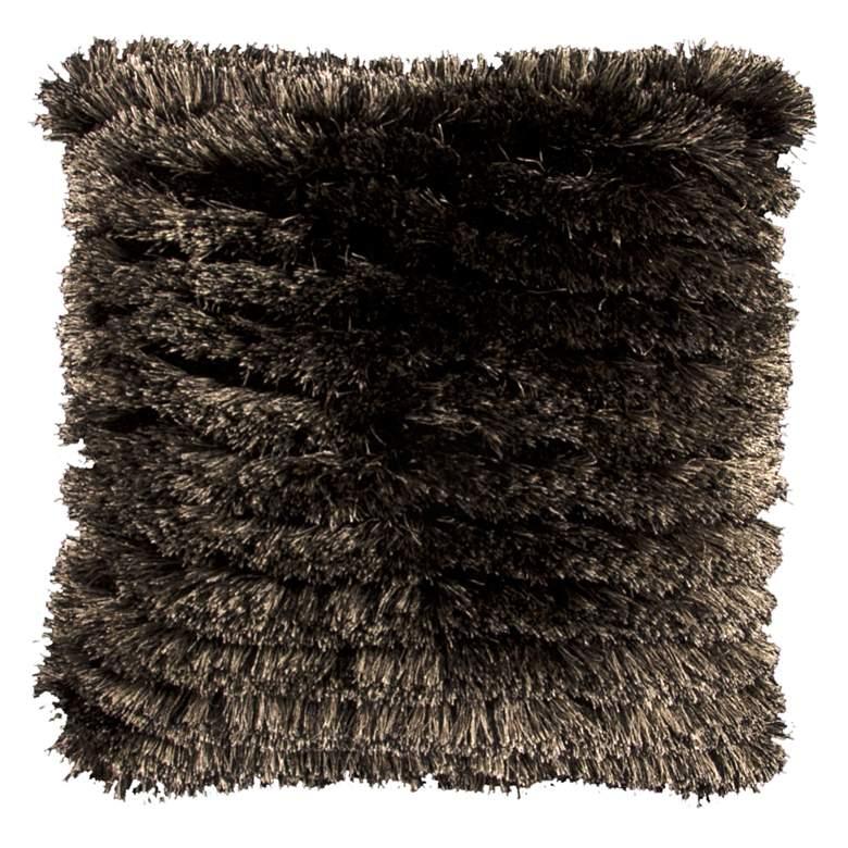 "Neil Black and Beige 20"" Square Decorative Shag Pillow"