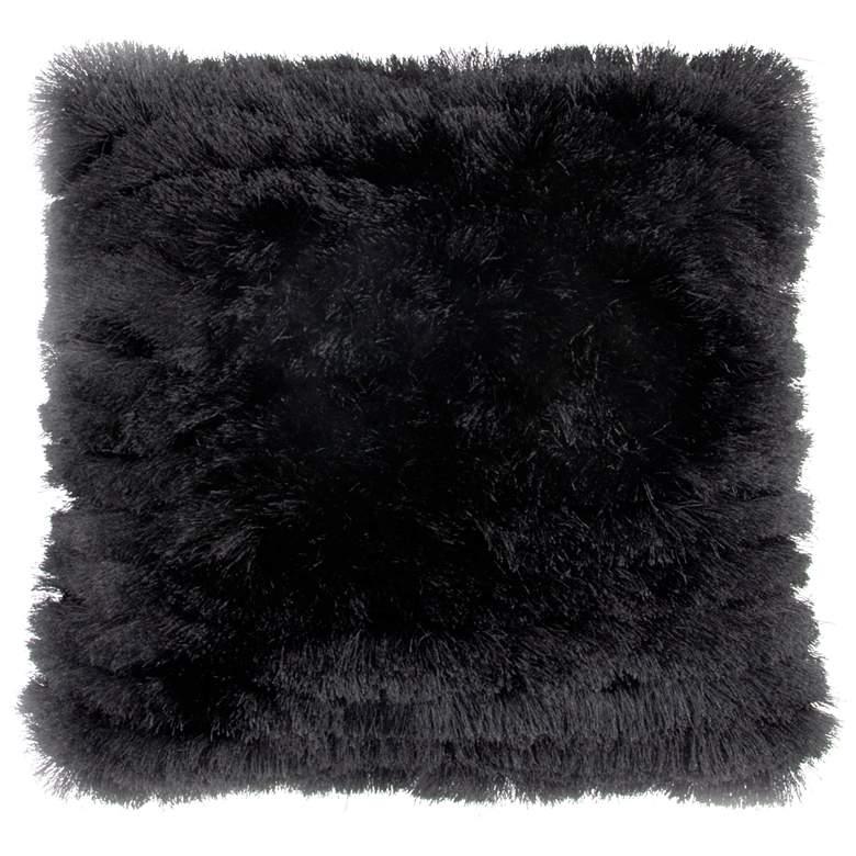 """Neil Black 20"""" Square Decorative Shag Pillow"""
