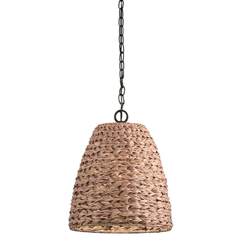 """Palisades 13 1/4""""W Bronze and Natural Outdoor Pendant Light"""