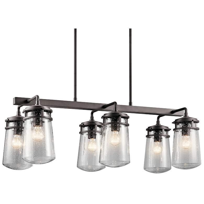 """Lyndon 36 3/4"""" Wide Bronze Kitchen Island Light Chandelier"""