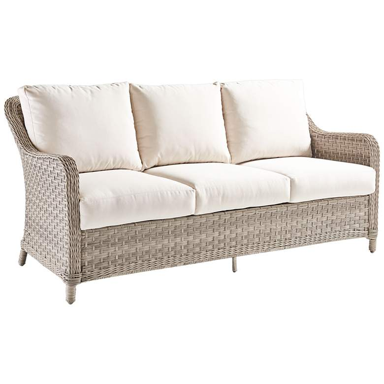 Springfield Pebble Wicker 3-Seat Outdoor Sofa - #20F77 | Lamps Plus