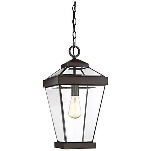 quoizel ravine 20 w western bronze outdoor hanging light 20f82