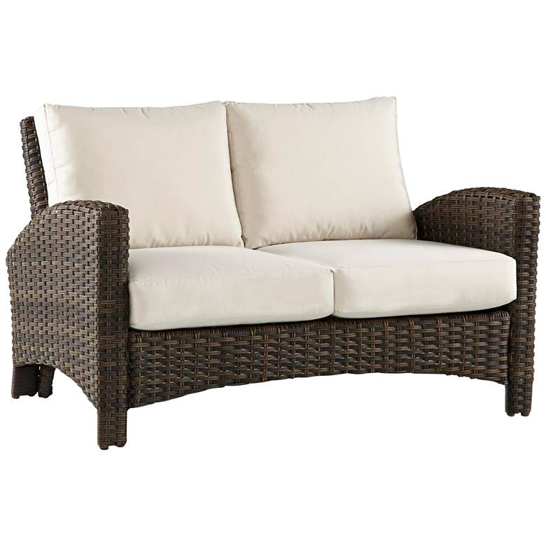 Giulia Charcoal Brown Wicker Outdoor Loveseat