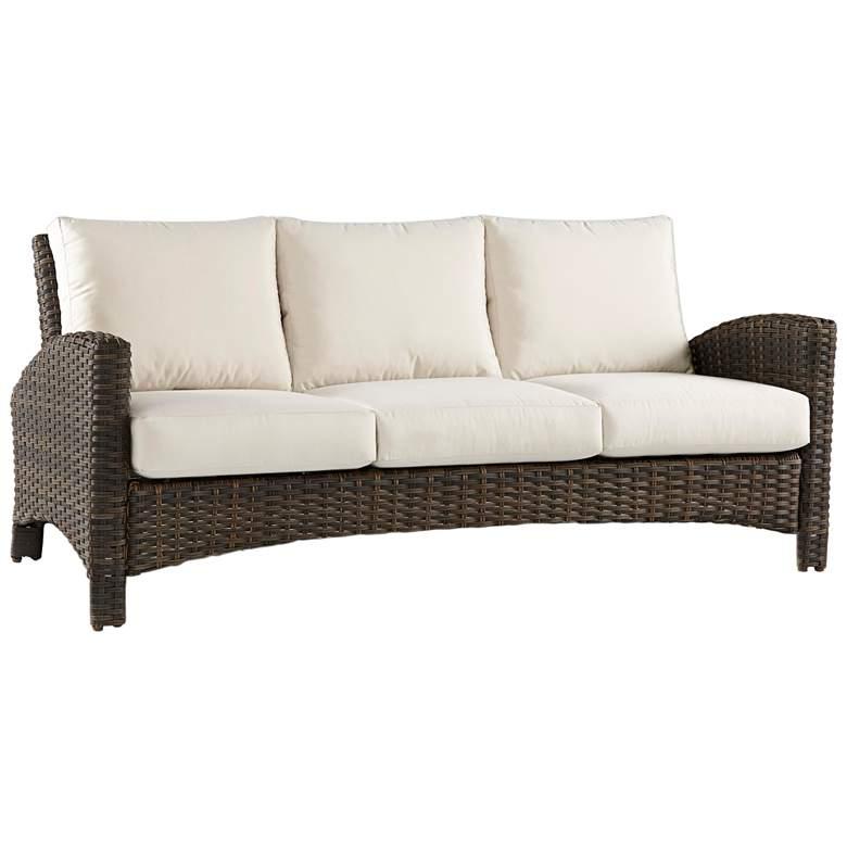 Giulia Charcoal Brown Wicker 3-Seat Outdoor Sofa