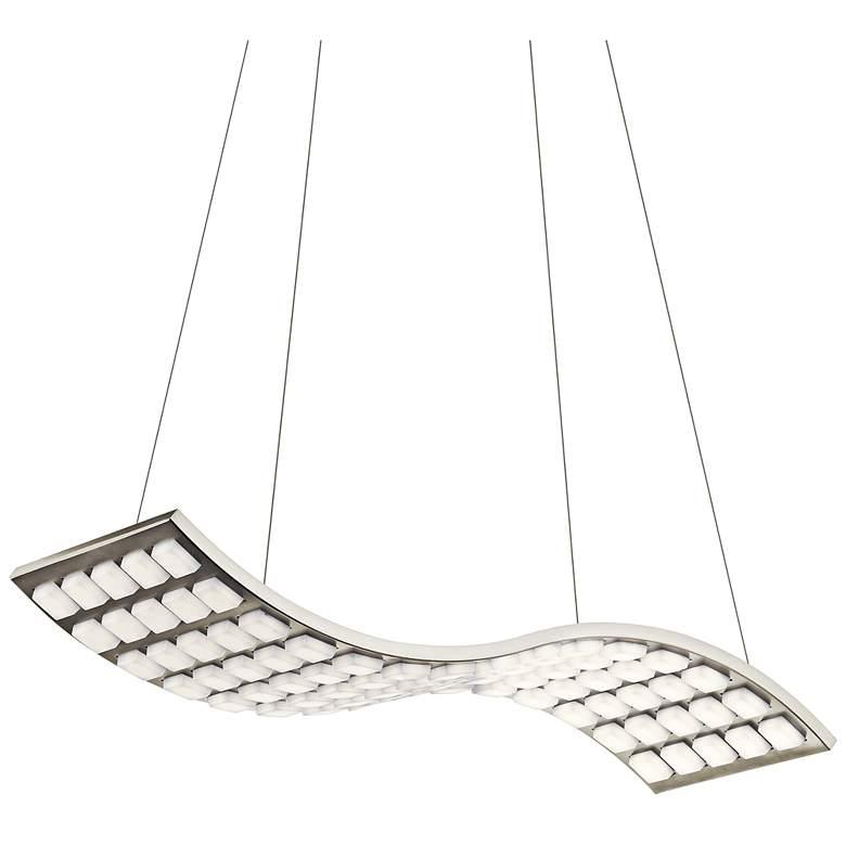 """Elan Cubic Wave 27"""" Wide Brushed Nickel LED Pendant Light"""