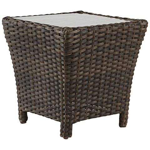 Giulia Glass Top and Charcoal Brown Outdoor End Table