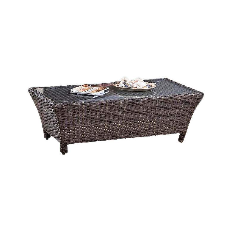 Giulia Glass Top and Charcoal Brown Outdoor Coffee Table