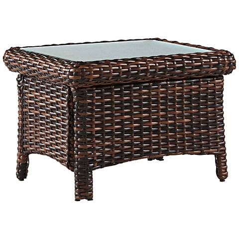 Isla Verde Glass Top and Espresso Wicker Outdoor End Table