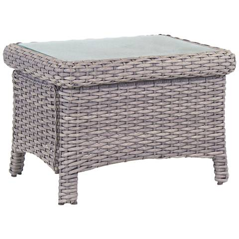 Isla Verde Glass Top and Stone Wicker Outdoor End Table