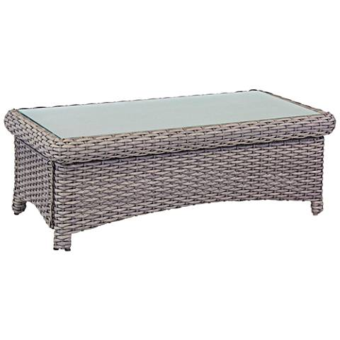 Isla Verde Glass Top and Stone Wicker Outdoor Coffee Table