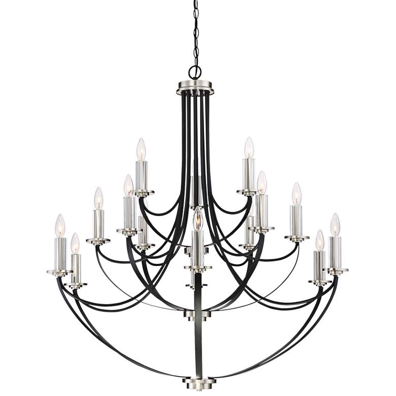 "Quoizel Alana 41""W 3-Tier15-Light Mystic Black Chandelier"