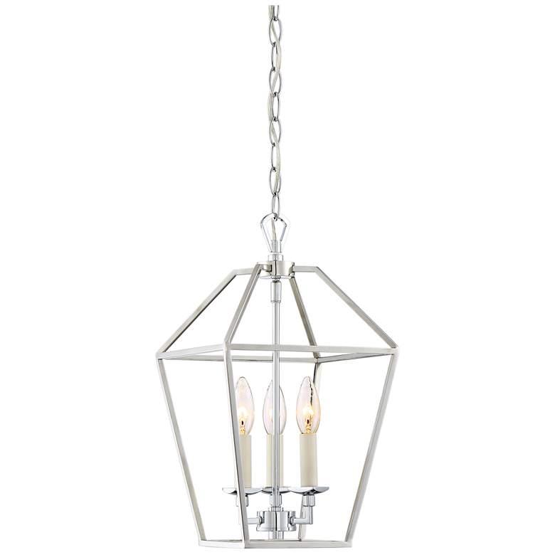 "Quoizel Aviary 9 1/2""W Nickel 3-Light Steel Cage Chandelier"