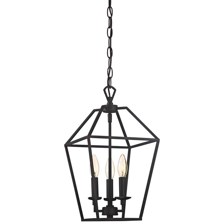 "Quoizel Aviary 9 1/2""W Bronze 3-Light Steel Cage Chandelier"