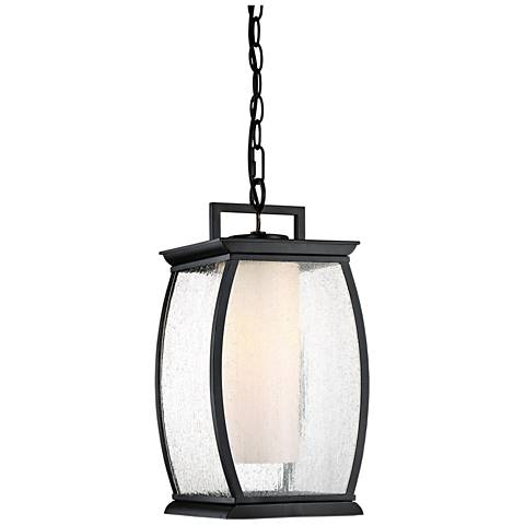 "Quoizel Terrace 17"" High Mystic Black Outdoor Hanging Light"