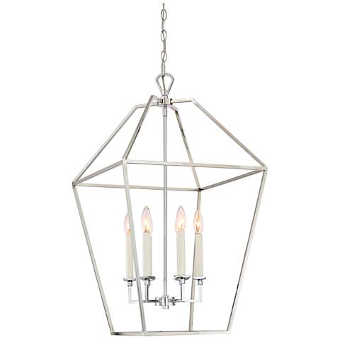"Quoizel Aviary 20 1/4"" Wide Nickel 6-Light Cage Chandelier"