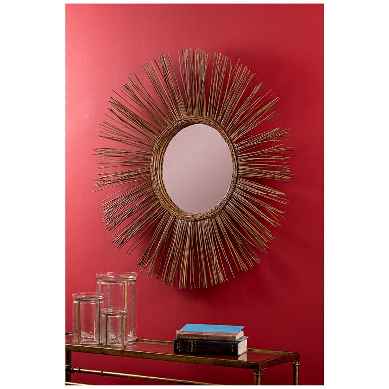 "Stellar Natural Rattan 38 1/2"" Sunburst Wall Mirror"
