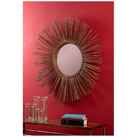 """Stellar Natural Rattan 38 1/2"""" Sunburst Wall Mirror"""