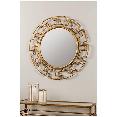 "Cooper Classics Barnes Gold 36"" Round Wall Mirror"