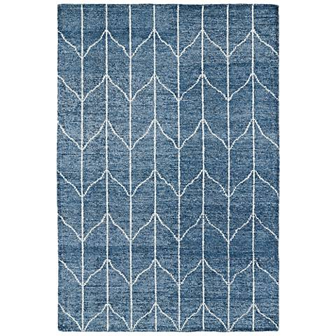 Kaleen Solitaire SOL05-29 Blue Ivory Bamboo Silk Area Rug