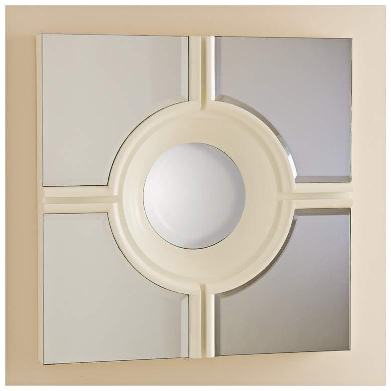 "Bull's Eye Cross White 24"" Square Wall Mirror"